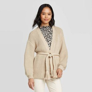 Who What Wear LS Chunky Cardigan With Tassel Tie